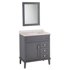 "NEW 30"" GRAY VANITY WITH TOP AND MIRROR - HOME DEC COLLECTION"