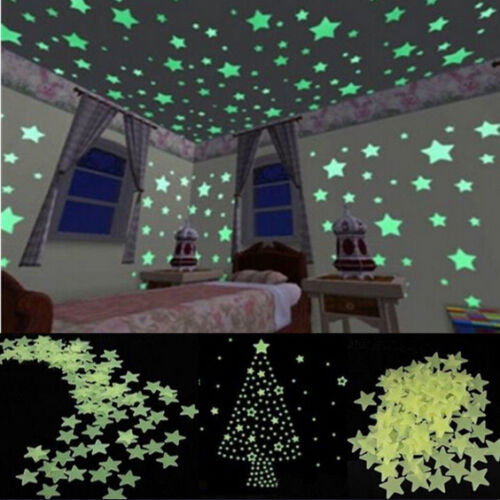 100pcs Glow in the Dark Leuchtsticker Sterne Aufkleber Leuchtsterne ...