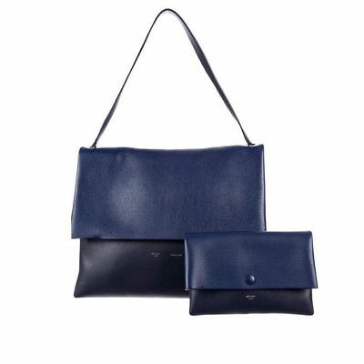 $ 2800+ NEW Celine Navy On Blue All Soft  Leather/Suede Shoulder Bag and Pouch