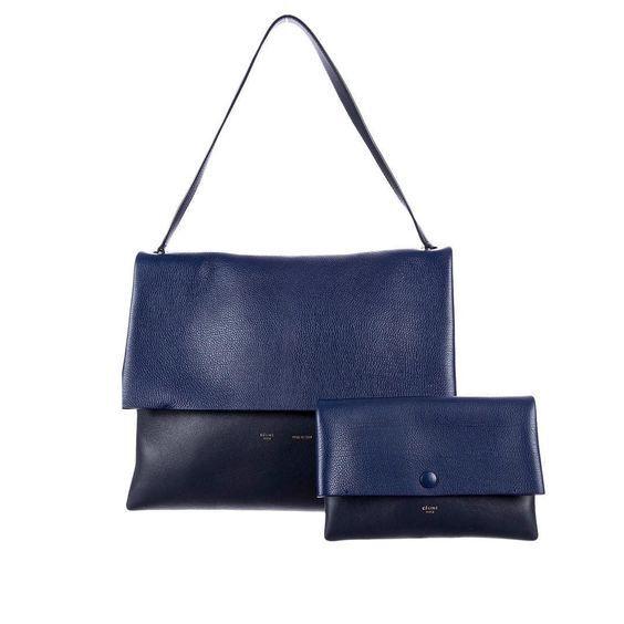 2800 NEW Celine Navy On Blue All Soft LeatherSuede Shoulder Bag and Pouch