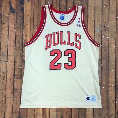 Vintage Champion NBA Chicago Bulls Michael Jordan Gold XL Basketball Jersey