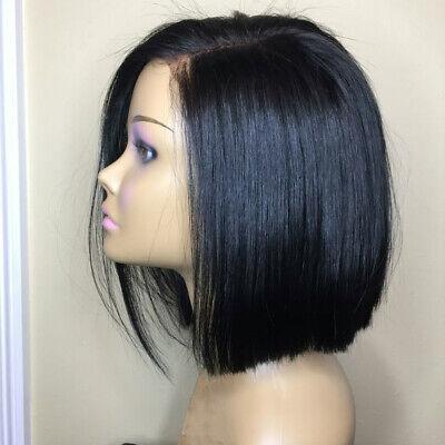 Brazilian Lace Front Black Natural Full Wig Straight Human Hair Bob Cheap Wig US