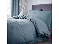 Dunelm teal ruffle superking bed set