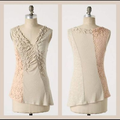 Anthropologie C Keer Gusts of Lace Top sleeveless tank shirt sz M beige peach