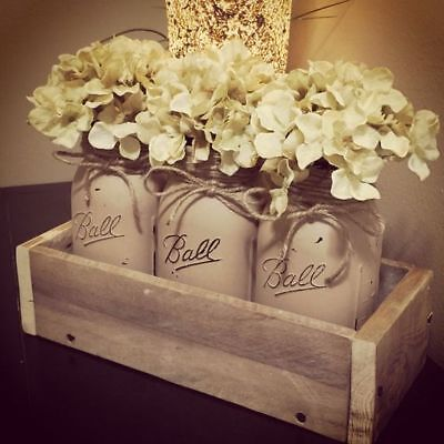 (Boho Mason jar decor distressed Ivory set of 3 wedding decor tablescape industri)
