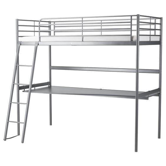 Ikea SVÄRTA Loft bed frame with desk top
