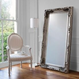 NEW HALF LIST PRICE Silver Large 6ft Carved Leaner Mirror Only £149 OPEN SUNDAY 1-3pm