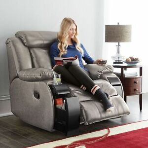 Leather-Look Power-Motion Recliner With Heat And Vibration