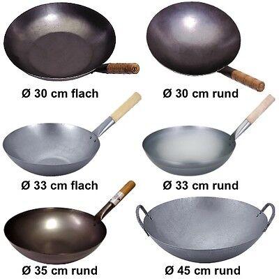 Wok Pfanne Ø 30 cm - 45 cm China Gastronomie runder Boden Gasherd FREIE