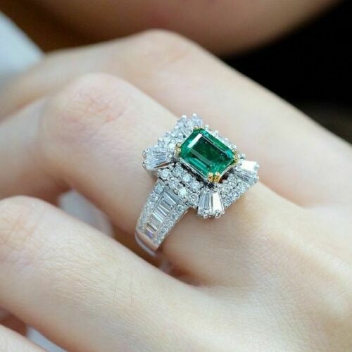 Women 925 Silver Wedding Rings Fashion Emerald Engagement Jewelry Ring Size 6-10