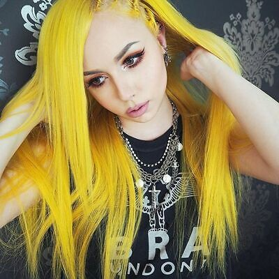 Long Lace Front Wig Natural Straight Synthetic Hair Neon Yellow Cosplay Full Wig](Neon Yellow Wig)