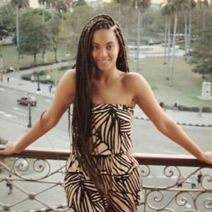 Beyonce brown  micro braided  lace front wig. Box braids.  Human hair blend