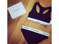 Calvin Klein Bralette 2 pieces set Bra and Brief Wholesale only on Black White and Grey colours