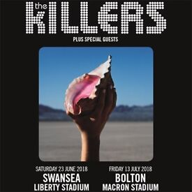 4x The Killers pitch standing tickets, Macron Stadium Bolton, Friday 13th July 2018