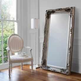 NEW HALF LIST PRICE Silver 6ft Carved Louis Leaner Mirror GET YOURS TODAY BOXED