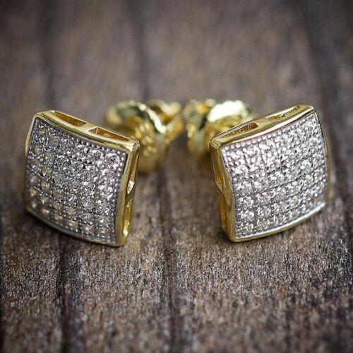 Hiphop Iced Out Goldplated Bling Stud Earrings Men Luxury Rhinestone Geometry