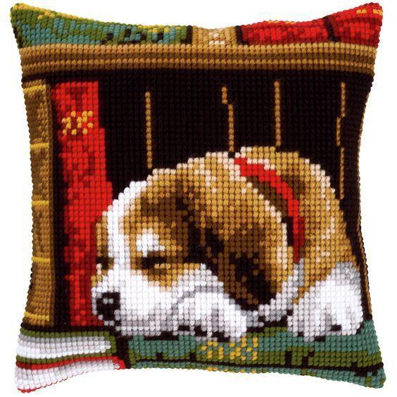 Vervaco - Cross Stitch Cushion Front Kit - Puppy Sleeping Bookshelf - PN-0148118
