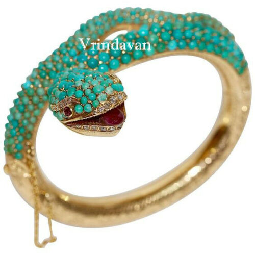 Natural Rosecut Diamond Turquoise Ruby 925 Sterling Silver Snake Bangle Jewelry