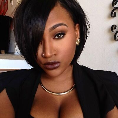 Real Human Hair Wig Short Pixie Cut Wigs Pre Plucked None Lace Wigs Black Wig US Black Pixie Adult Wig