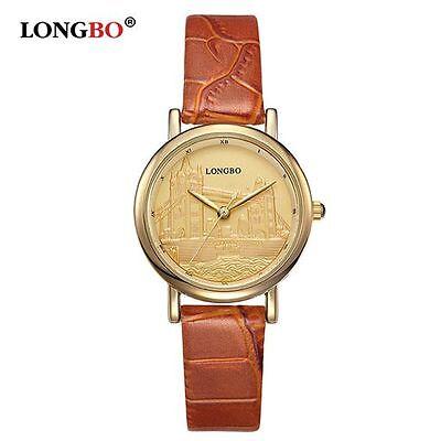 Ladies Luxury Gold London Tower Bridge Embossed Genuine Leather Strap Watch