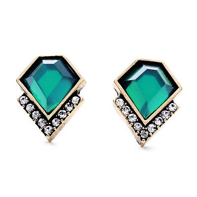 Antique Pave Earrings (Marquesas Stud Earrings Geometric Green Sparkling Crystal Pave + Brand Antique )