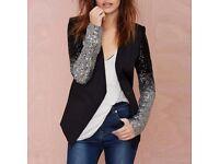 New Elegant black silver sequins Jacket, party wear winter Jacket
