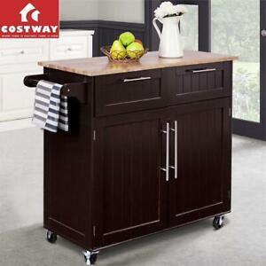 NEW* COSTWAY KITCHEN CABINET CART HW55461 244246227 UTILITY ROLLING