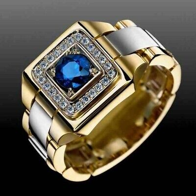 Mens 18K Yellow Gold Filled Round Cut Natural Blue Sapphire Rings Jewelry Gift - Gold Round Cut Jewelry