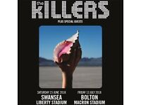 **FACE VALUE** 4x The Killers pitch standing tickets, Macron Stadium Bolton, Friday 13th July 2018