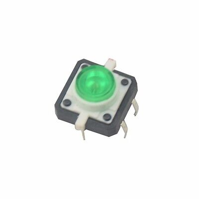 5pcs Green Led Tactile Button Push Switch Momentary Tact With Led Round Cap