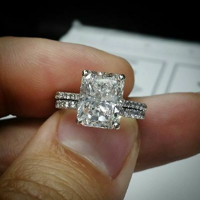 - 3 Ct Radiant Cut White Diamond Bridal Engagement Ring Set 14K White Gold Over