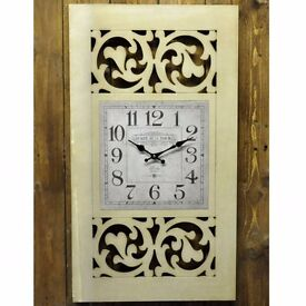 Brand New Large 80cm X 45cm Stylish Unusual Cut Design White Wall Clock