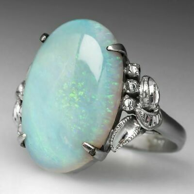 Natural Moonstone 925 Plated Silver Ring Women Jewelry Gemstone Wedding Sz 5-10 5 Stone Silver Ring