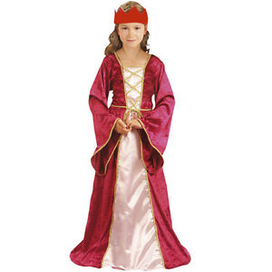Renaissance-Princess-Costume-Medieval-School-Play-Kids-Fancy-Girls-tudor-day