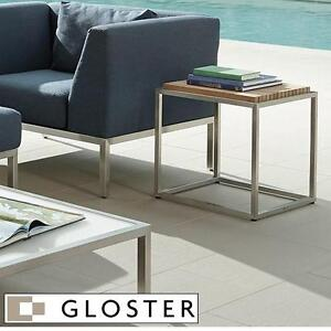 "NEW* GLOSTER PREMIUM TEAK TOP TABLE - 119536065 - 17.5"" x 17.5"" x 18""H TEAK TOP STAINLESS STEEL FRAME TABLES OUTDOOR ..."