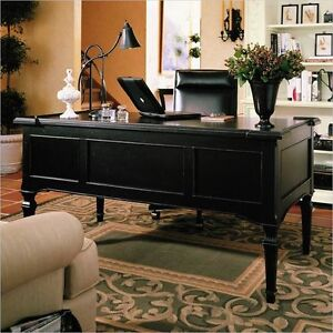 Stanley Furniture Black Leather Rolling Desk Chair
