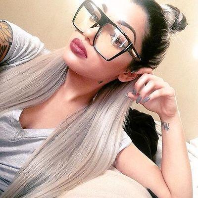Groß Übergröße Klar Gläser Damen Brille Schwarz Brown Plastik Rahmen Quadratisch