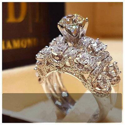 Luxurious White Sapphire 925 Silver Ring Bridal Anniversary Women Jewelry -