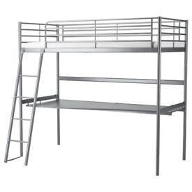 Ikea SVÄRTA Loft bed frame with desk top £90 ONO