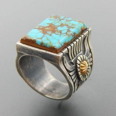 Wholesale Vintage Navajo Indian Handmade Silver Turquoise Ring Women Men -