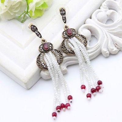 Tulip Tassel - Ethnic Pearl Tulip Tassel Bead Earrings Turkish  Stud Drop,  Boho Festival bride