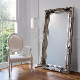 BLACK FRIDAY WEEK SPECIAL Carved Louis Large 6 x 3 ft Silver Leaner Mirror Only £149