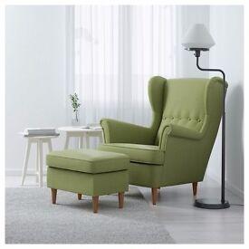 IKEA Strandmon comfortable armchair with footstool