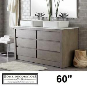 "NEW* LAWRENCE 60"" DOUBLE VANITY 9703200270 136031683 HOME DECORATORS WEATHERED GREY MARBLE TOP MOUNT SINKS BASINS BAT..."