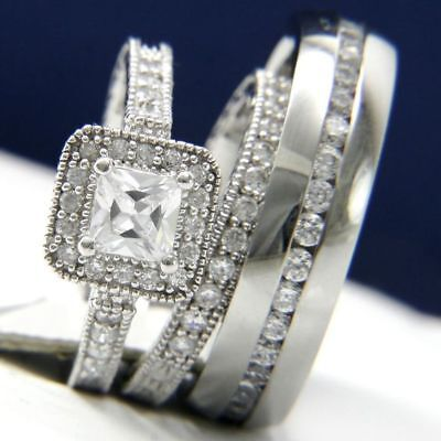 men women trio rings set 2.2ct diamond wedding band marriage 14k white gold
