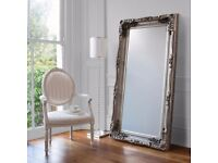 NEW HALF LIST PRICE Silver 6ft Carved Louis Leaner Mirror Only £149