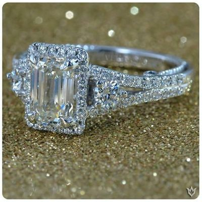 Certified 3.40ct White Emerald Diamond Engagement Ring in 14K White Gold