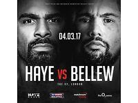 Haye vs bellew 4th march 4 tickets row A lower tier