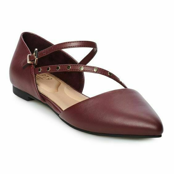 APT 9 Develop Women's Flat Comfort  Strap Shoes In Black and Burgundy  1