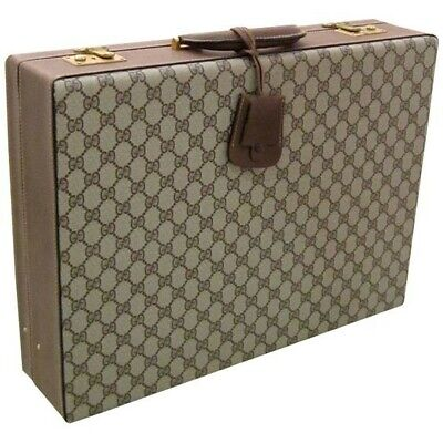 GUCCI Italy Vintage GG Hard Sided Case Briefcase Attache Mens Bag *LOCKED*